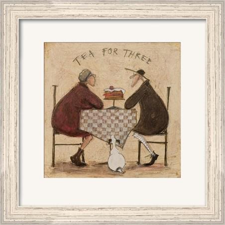Pale Wood Finish Framed Tea for Three - Sam Toft