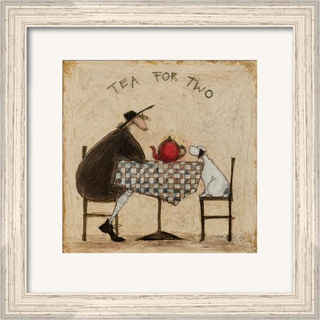 Pale Wood Finish Framed Tea for Two Print - Sam Toft