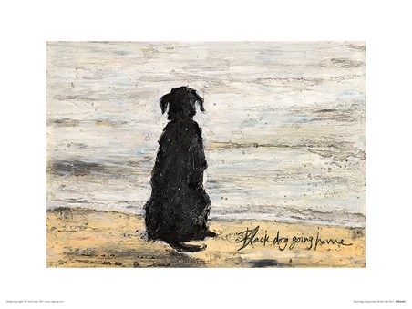 Framed Black Dog Going Home - Sam Toft