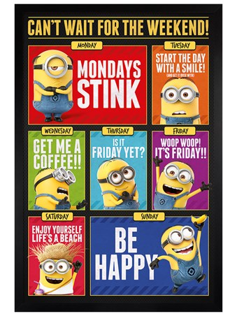 Black Wooden Framed Can't Wait For The Weekend! - Despicable Me 3