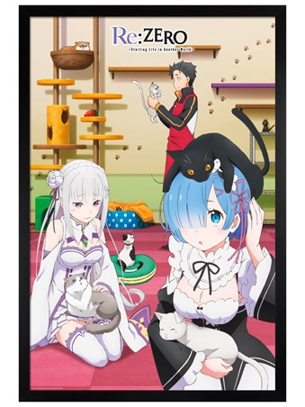 Black Wooden Framed Starting Life in Another World - Re Zero Cats
