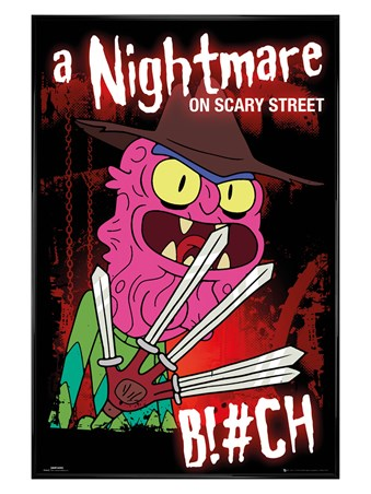 Gloss Black Framed A Nightmare On Scary Street - Rick And Morty