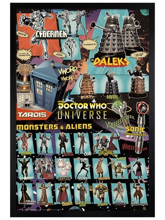 Black Wooden Framed Doctor Who Universe - Monsters And Aliens