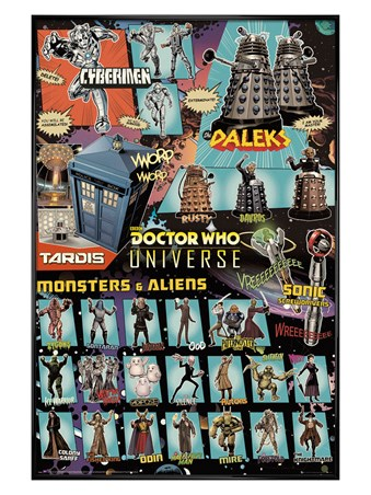 Gloss Black Framed Doctor Who Universe - Monsters And Aliens