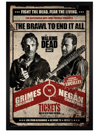 Black Wooden Framed Fight Night - The Walking Dead