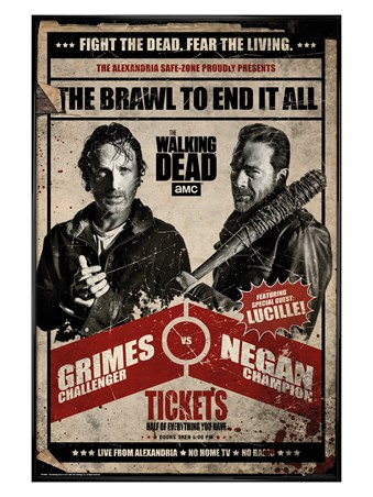 Gloss Black Framed Fight Night - The Walking Dead