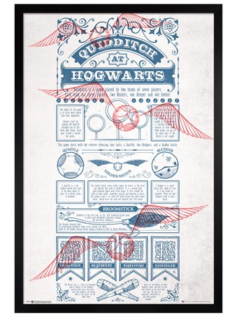Black Wooden Framed Quidditch At Hogwarts - Harry Potter