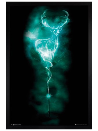 Black Wooden Framed Expecto Patronum - Harry Potter Patronus Stag