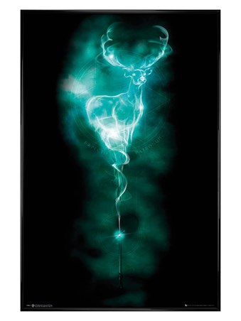 Gloss Black Framed Patronus Stag - Harry Potter
