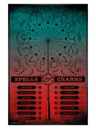 Gloss Black Framed Spells And Charms - Harry Potter