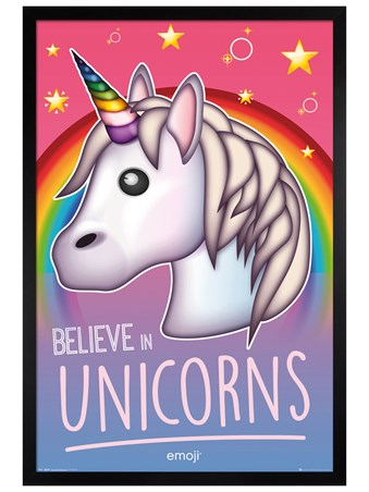 Black Wooden Framed Believe in Unicorns - Emoji