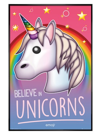 Gloss Black Framed Believe In Unicorns - Emoji