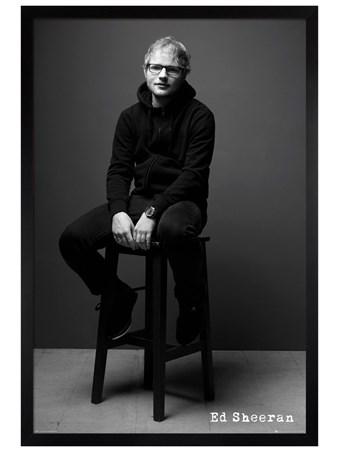 Black Wooden Framed Black and White - Ed Sheeran