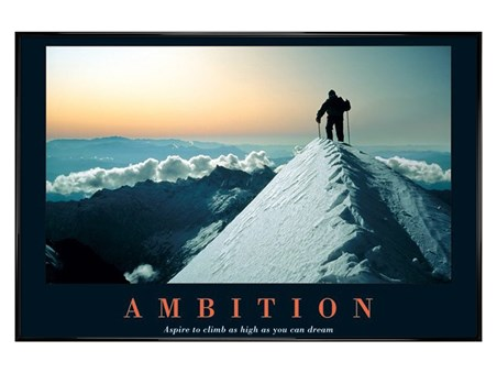 Gloss Black Framed Aspire To Climb As High As You Dream - Ambition