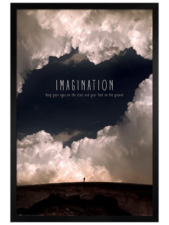 Black Wooden Framed Imagination - Motivational