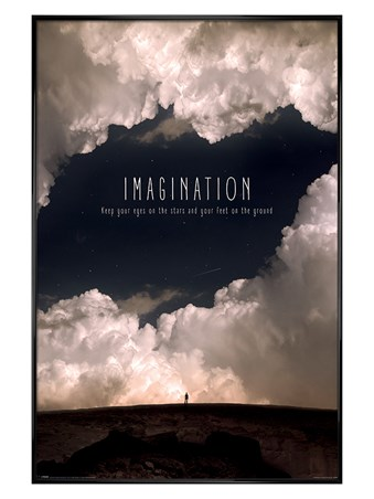 Gloss Black Framed Imagination - Motivational