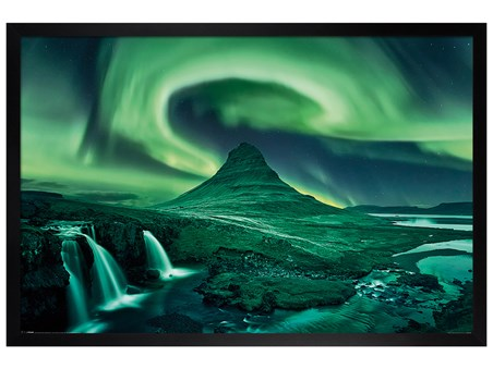 Black Wooden Framed The Northern Lights - Aurora Borealis