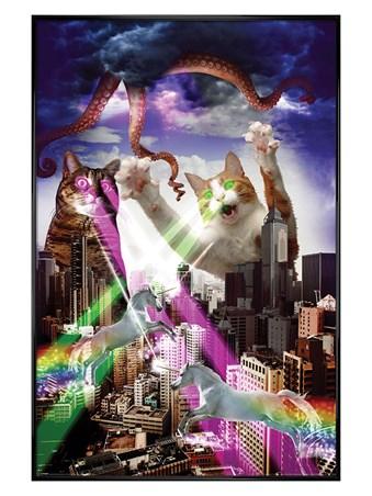 Gloss Black Framed Apocalypse Meow - Animal Invasion