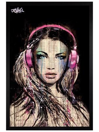 Black Wooden Framed DJ Girl - Loui Jover