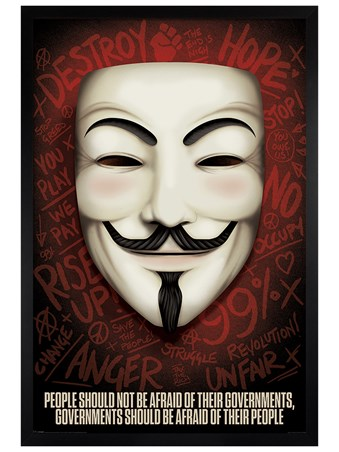 Black Wooden Framed Governments Should Be Afraid Of Their People - V For Vendetta