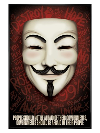 Gloss Black Framed Governments Should Be Afraid Of Their People - V For Vendetta