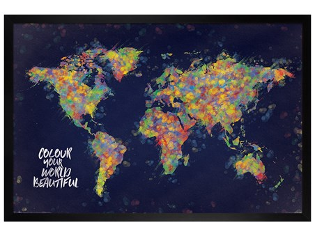 Framed Black Wooden Framed Colour Your World Beautiful - Atlas