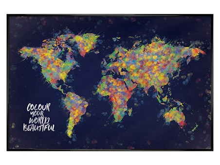 Framed Gloss Black Framed Colour Your World Beautiful - Atlas
