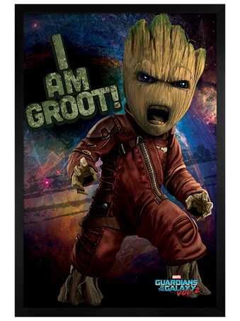 Black Wooden Framed Angry Groot - Guardians of the Galaxy Vol.2