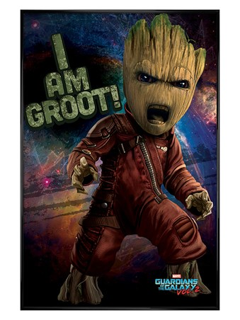 Gloss Black Framed Angry Groot - Guardians of the Galaxy Vol.2