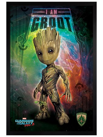 Black Wooden Framed I Am Groot - Guardians of the Galaxy Vol. 2