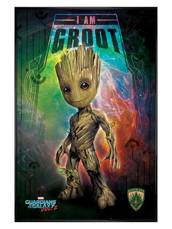 Gloss Black Framed I Am Groot - Guardians of the Galaxy Vol. 2
