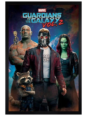 Black Wooden Framed Characters In Space - Guardians of the Galaxy Vol. 2