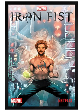 Black Wooden Framed Comic - Iron Fist