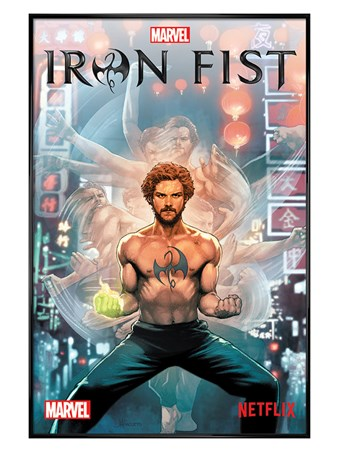 Gloss Black Framed Iron Fist Comic - Marvel