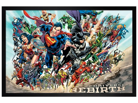 Black Wooden Framed DC Heroes - Justice League Rebirth