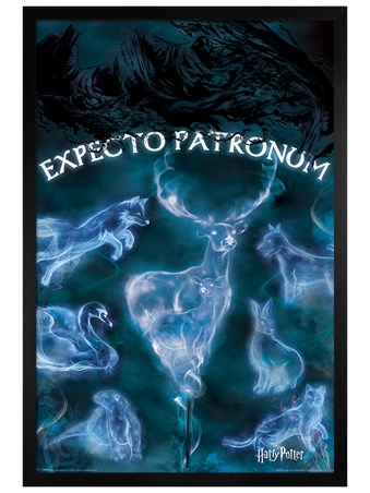 Black Wooden Framed Patronus Stag - Harry Potter