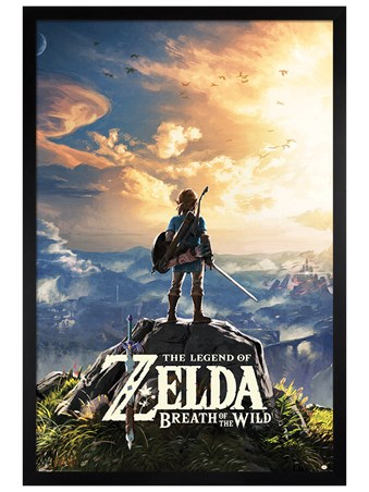 Black Wooden Framed Sunset Over Hyrule Framed Poster