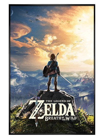 Gloss Black Framed Sunset Over Hyrule - The Legend Of Zelda: Breath Of The Wild