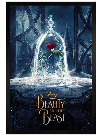 Black Wooden Framed Enchanted Rose - Beauty and the Beast Movie