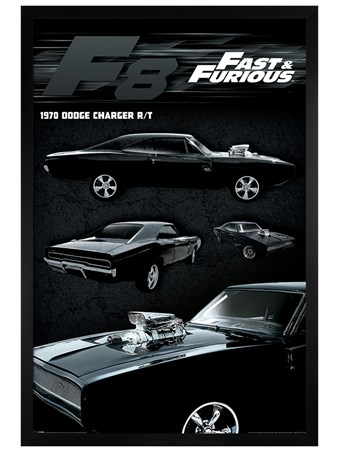 Black Wooden Framed Dodge Charger - Fast & Furious