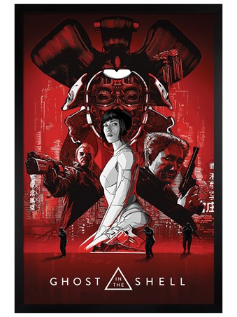 Black Wooden Framed Supersoldier Major - Ghost In The Shell