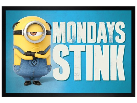 Framed Black Wooden Framed Mondays Stink - Despicable Me 3