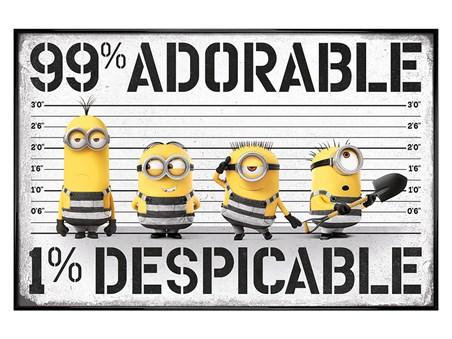 Gloss Black Framed 99% adorable 1% Despicable - Despicable Me 3