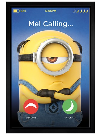 Black Wooden Framed Mel Calling - Despicable Me 3