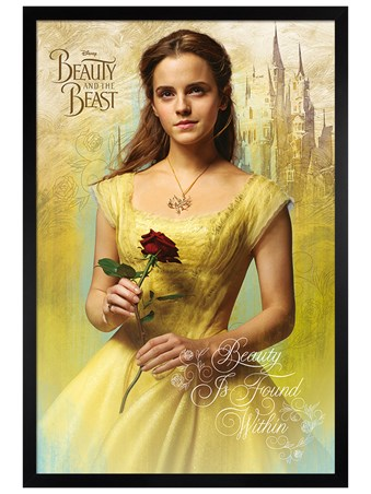 Black Wooden Framed Belle - Beauty and The Beast