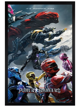 Black Wooden Framed Movie Charge - Power Rangers