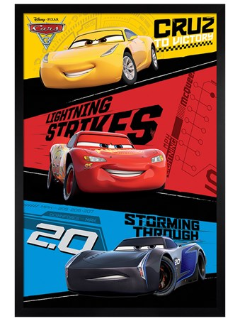 Black Wooden Framed Red, Blue & Yellow Trio - Cars 3