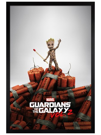 Black Wooden Framed Groot Dynamite - Guardians Of The Galaxy Vol. 2