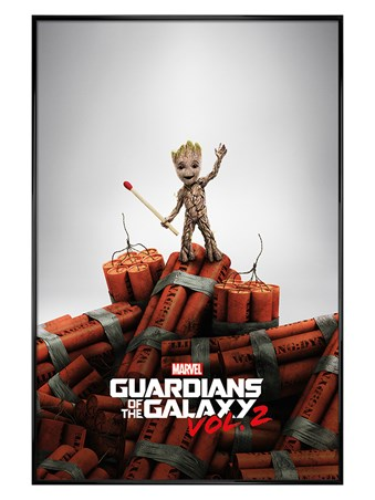 Gloss Black Framed Groot Dynamite - Guardians Of The Galaxy Vol. 2
