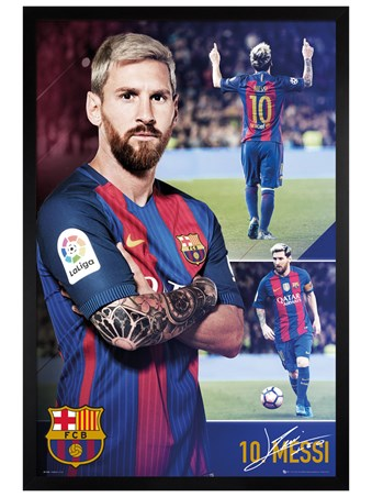 Black Wooden Framed Messi Collage - Barcelona FC